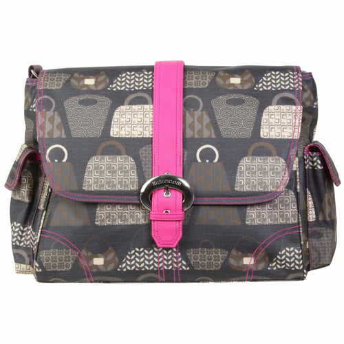Bag Lady - Fuchsia Matte Coated Buckle Diaper Bag | Style 2960 - Kalencom-Diaper Bags-Jack and Jill Boutique