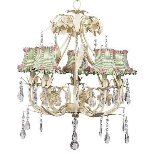 Ballroom Ivory Five-Light Chandelier with Ruffled Edge Green Check Chandelier Shades-Chandeliers-Default-Jack and Jill Boutique