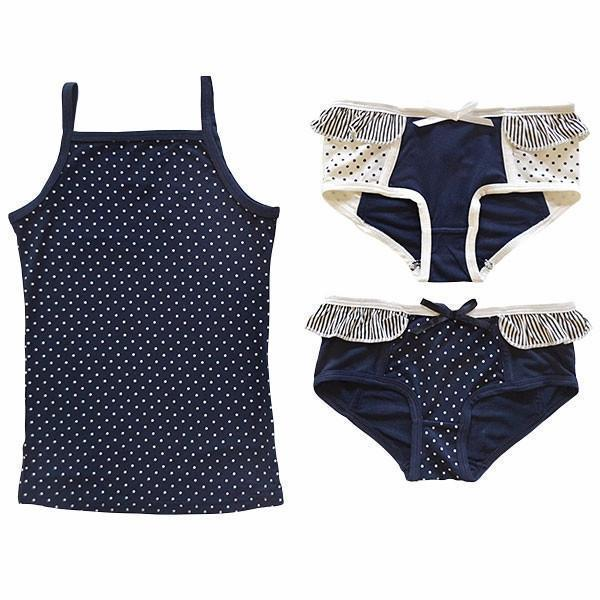 Bamboo Camisole/ Knickers/ Girl Swim Suit - Navy Dots - 3 pc set-Apparel-Jack and Jill Boutique