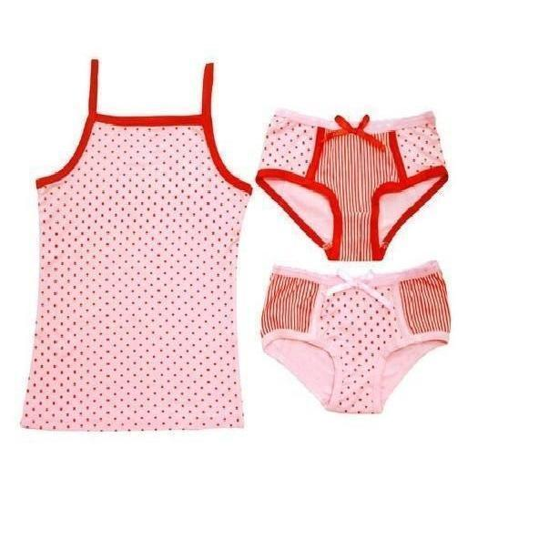 Bamboo Camisole/ Knickers/ Girl Swim Suit - Pink and Red Dots - 3 pc set-Apparel-Jack and Jill Boutique
