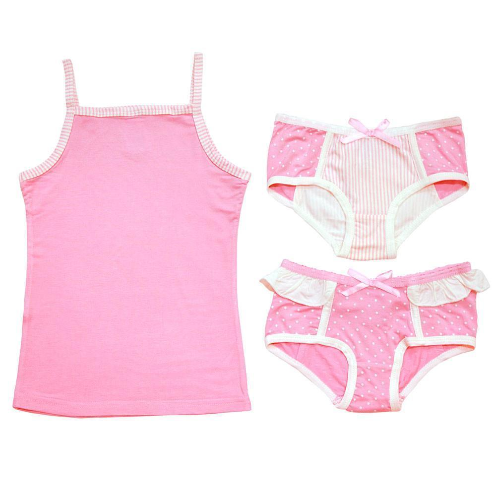 Bamboo Camisole/ Knickers/ Girl Swim Suit - Pink Dots - 3 pc set-Apparel-Jack and Jill Boutique
