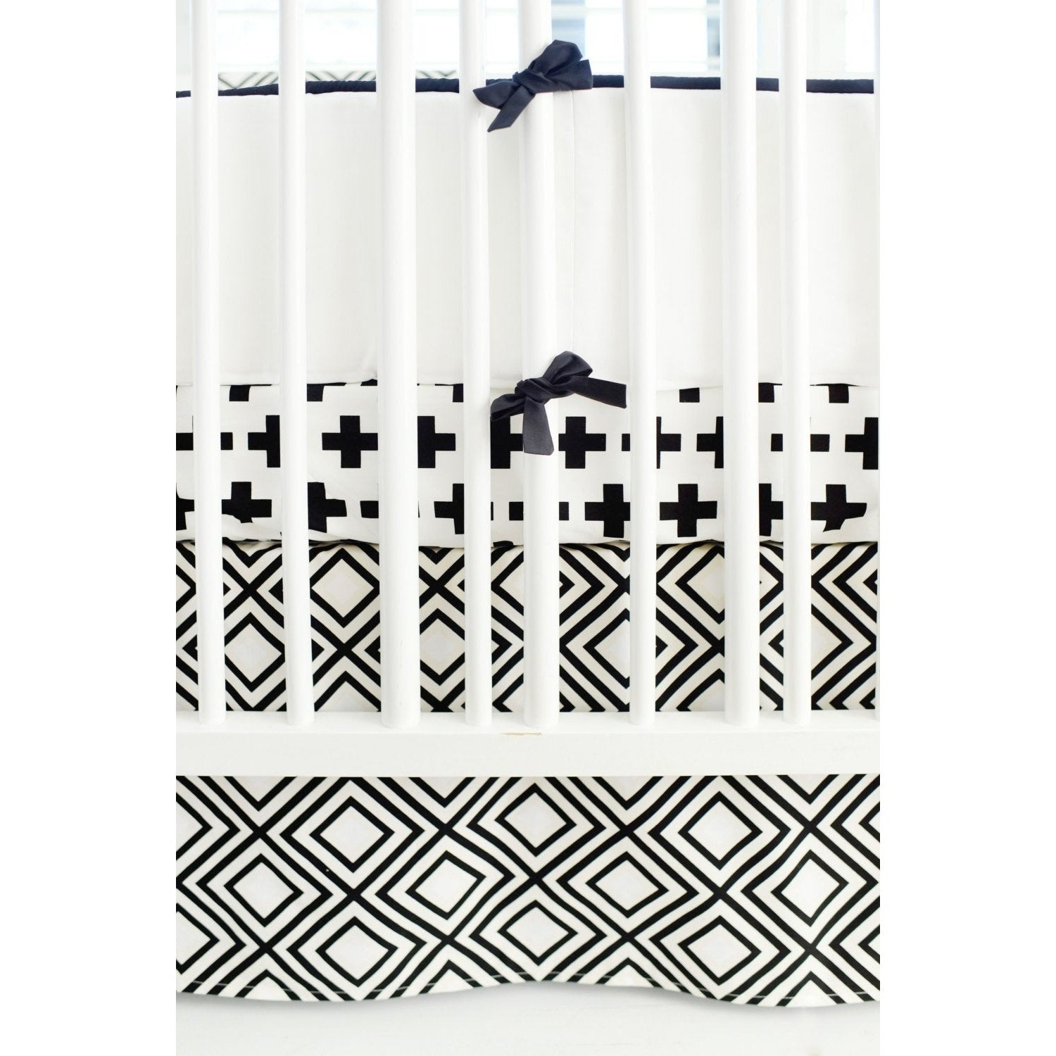 Black And White Swiss Cross Baby Bedding Set Jack And