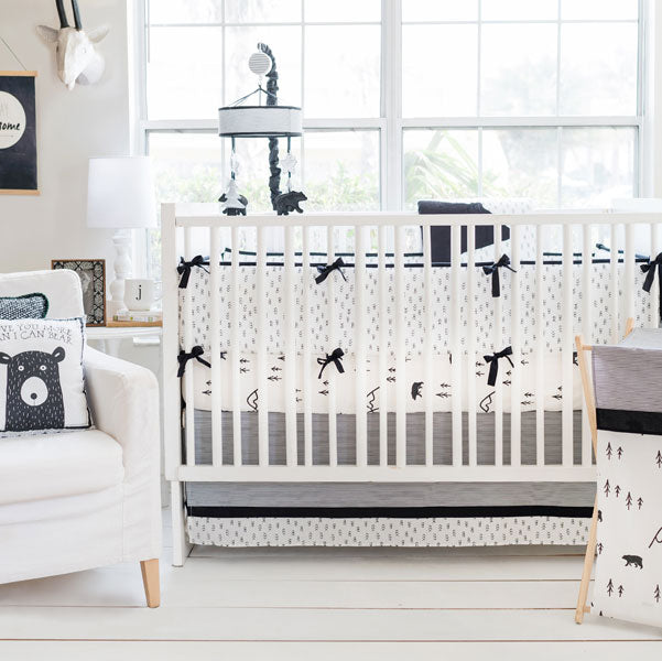 Black and White Bear Baby Bedding | Little Bear Collection-Crib Bedding Set-Sheet + Skirt + Blanket + Bumper-Jack and Jill Boutique