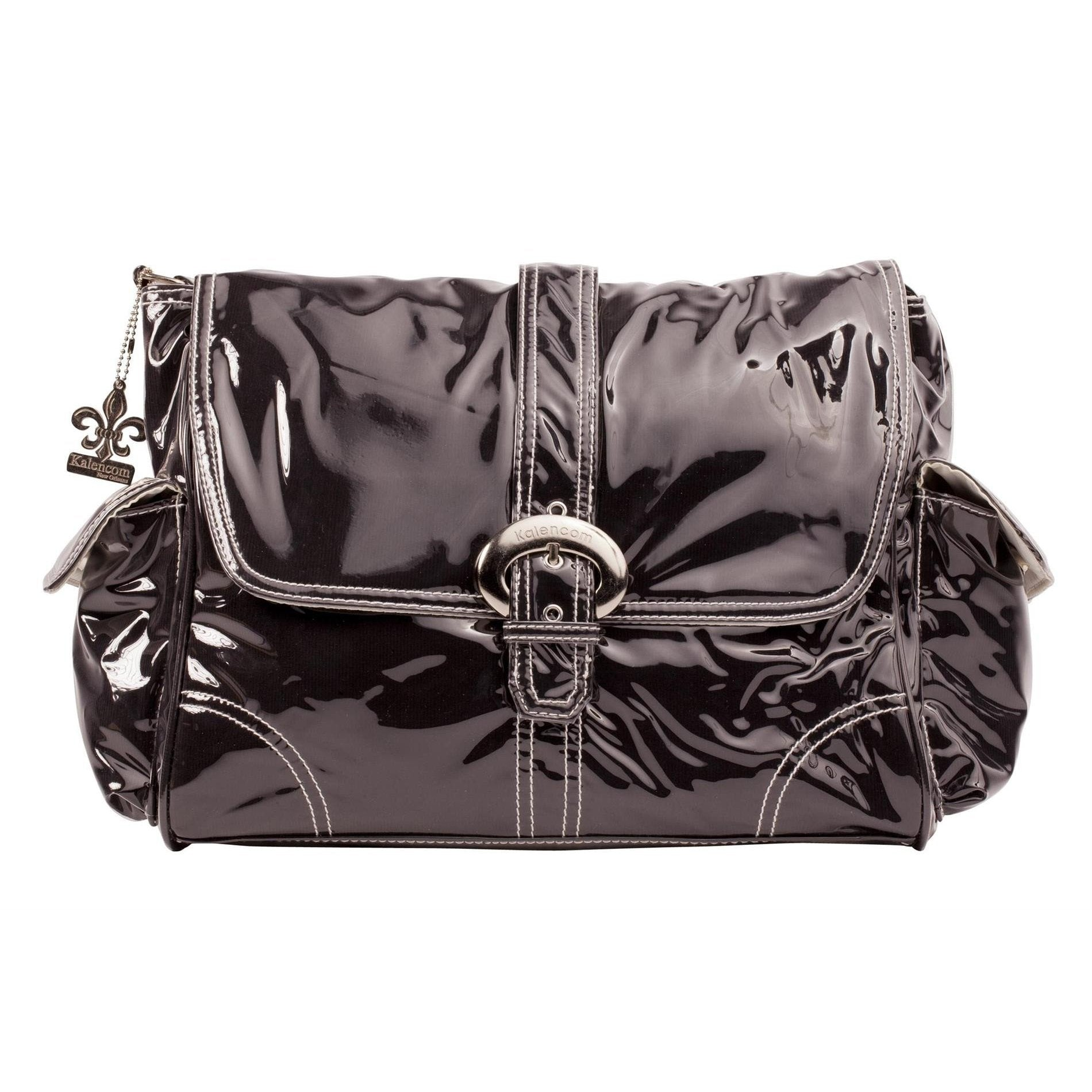Black Corduroy Laminated Buckle Diaper Bag | Style 2960 - Kalencom-Diaper Bags-Jack and Jill Boutique