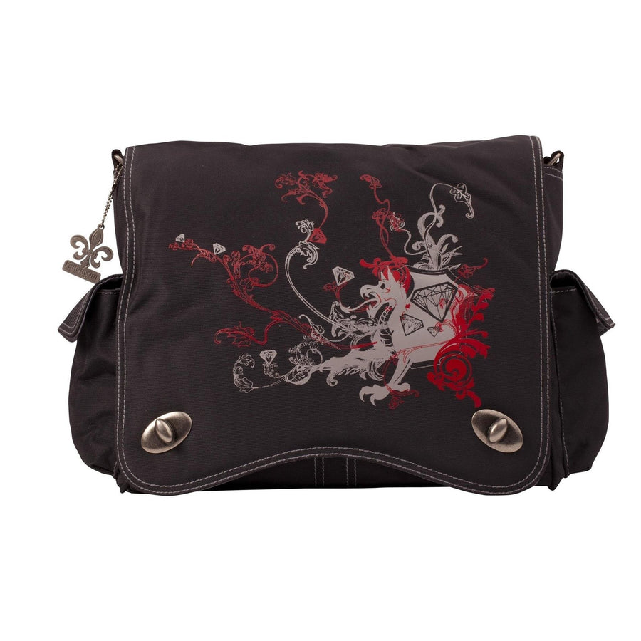 Black/Gray Dragon Screened Sam'S Messenger Diaper Bag | Style 2962 - Kalencom-Diaper Bags-Default-Jack and Jill Boutique
