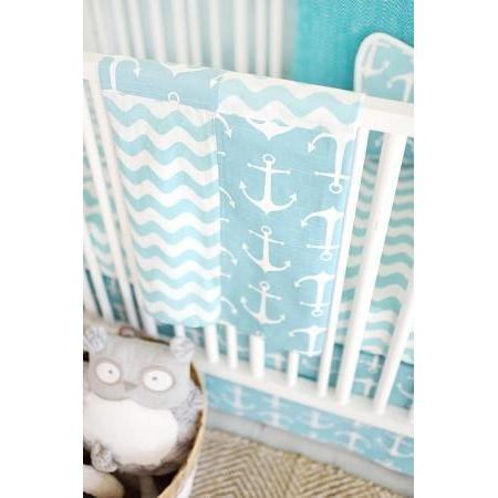 Blanket | Anchors Away in Aqua Nautical-Baby Blanket-Minky-Jack and Jill Boutique