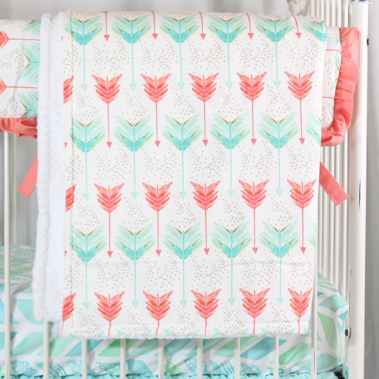 Blanket | Aqua and Coral Watercolor Herringbone Baby Bedding-Baby Blanket-Jack and Jill Boutique