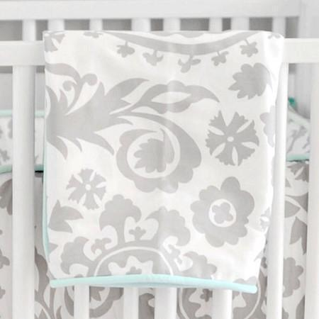 Blanket | Aqua & Gray Wink-Baby Blanket-Jack and Jill Boutique