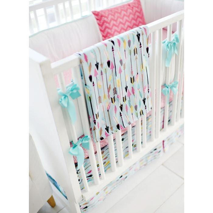 Blanket | Aqua & Pink Arrow Little Explorer-Baby Blanket-Jack and Jill Boutique