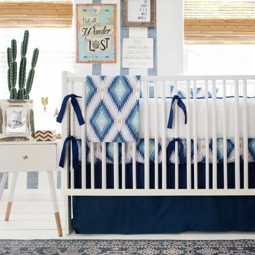 Blanket | Aztec Wander in Blue-Baby Blanket-Jack and Jill Boutique