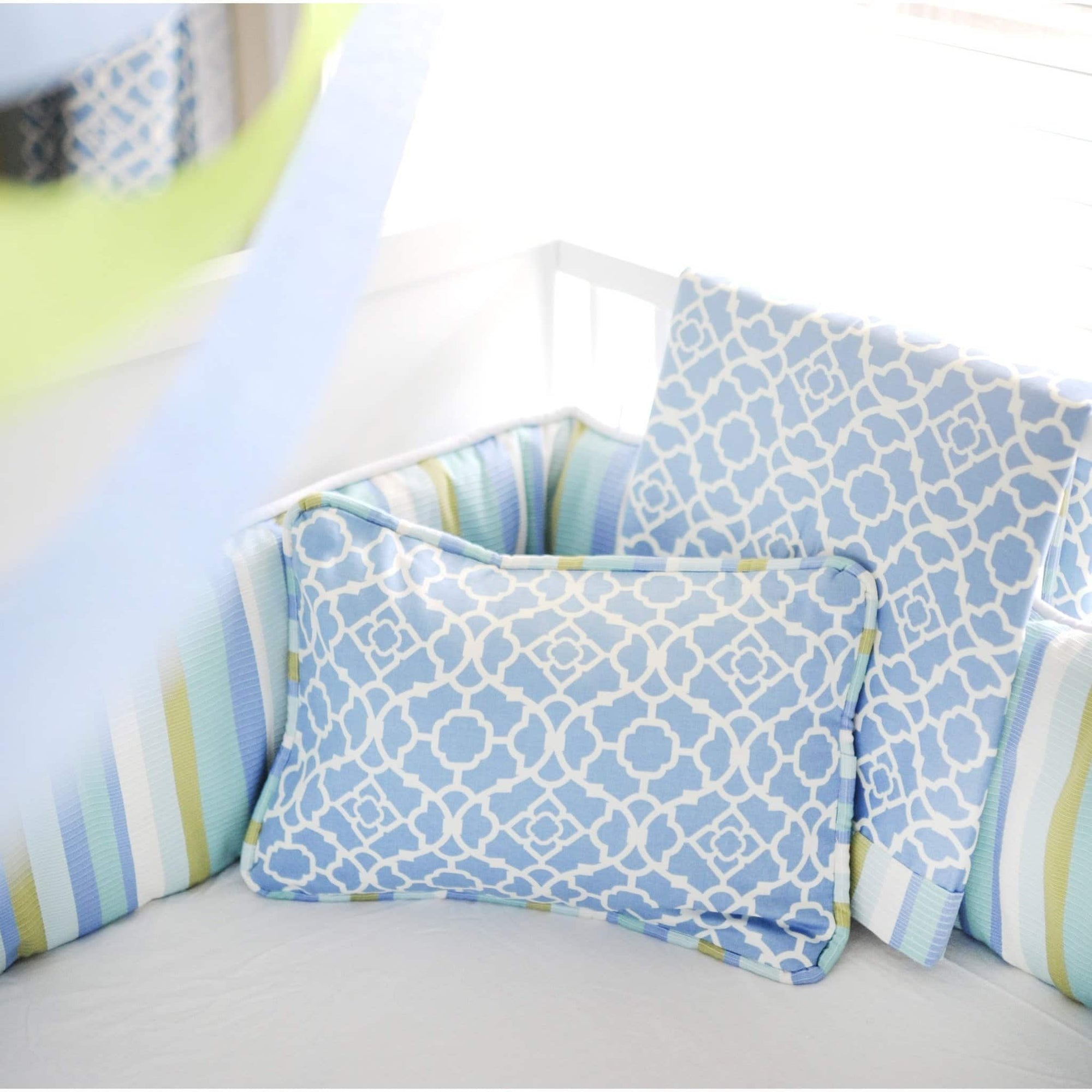 Blanket | By The Bay Baby Blue White and Green-Baby Blanket-Jack and Jill Boutique