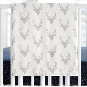 Blanket | Deer Buck Forest in Silver-Baby Blanket-Jack and Jill Boutique