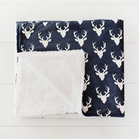 Baby Blanket-Jack and Jill Boutique-Blanket | Deer Buck Forest in Twilight Faux Fur