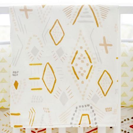 Blanket | Gray & Gold Tribal Head West-Baby Blanket-Jack and Jill Boutique