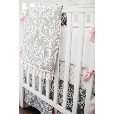 Blanket | Gray & Hot Pink Damask Wisteria