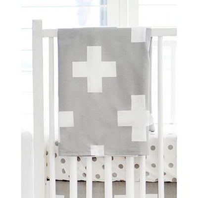 Blanket | Gray Swiss Cross-Baby Blanket-Jack and Jill Boutique