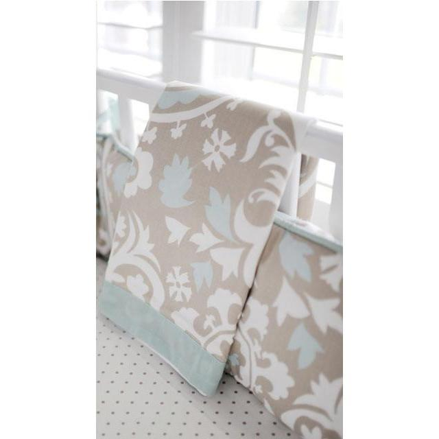 Blanket | Khaki & Aqua Suzani Picket Fence-Baby Blanket-Jack and Jill Boutique