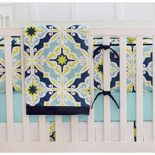 Baby Blanket-Jack and Jill Boutique-Blanket | Lime Green & Navy Starburst in Kiwi