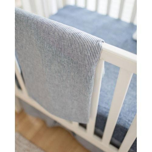 Baby Blanket-Jack and Jill Boutique-Blanket | Navy Washed Linen Indigo Stripe Baby Bedding Set