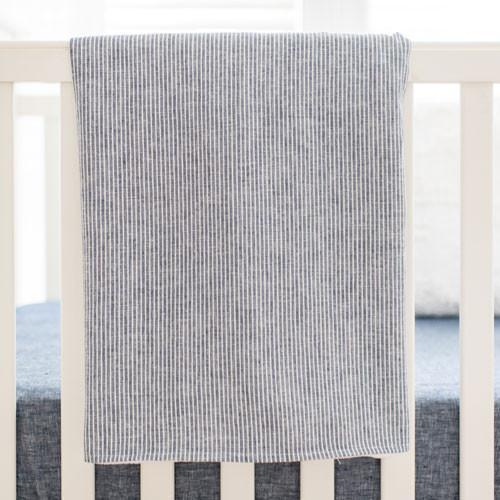 Blanket | Navy Washed Linen Indigo Stripe Baby Bedding Set-Baby Blanket-Jack and Jill Boutique