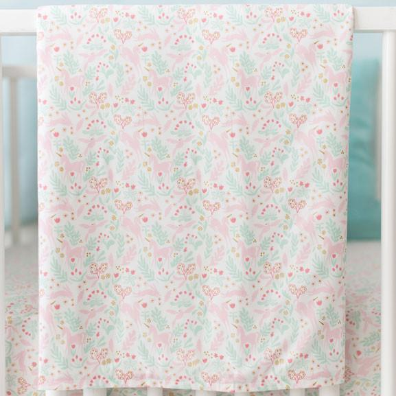 Blanket | Unicorn Magic Folk in Aqua-Baby Blanket-Jack and Jill Boutique
