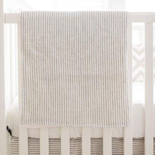 Blanket | Washed Linen in Ecru Stripe Baby Bedding Set-Baby Blanket-Jack and Jill Boutique