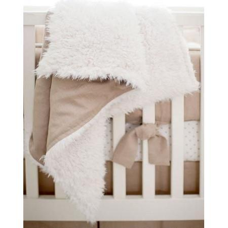 Blanket | Washed Linen in Flax Faux Fur-Baby Blanket-Jack and Jill Boutique