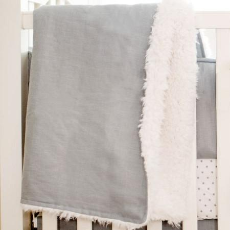 Blanket | Washed Linen in Gray Faux Fur-Baby Blanket-Jack and Jill Boutique