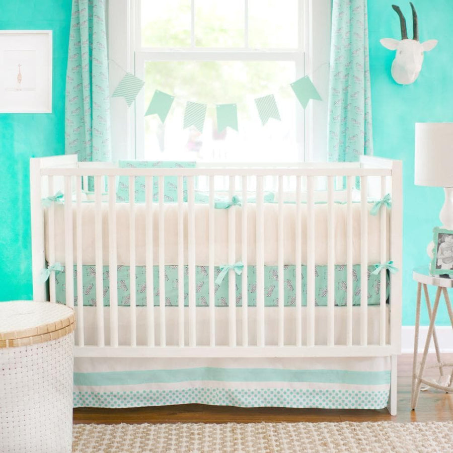 Blanket | Zebra Parade in Mint-Baby Blanket-Jack and Jill Boutique