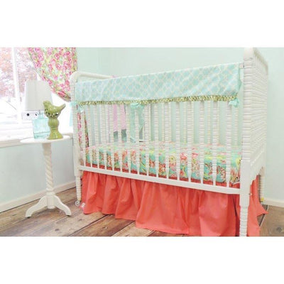 Bliss Bouquet Baby Bedding | Aqua, Coral Crib Bedding Set-Crib Bedding Set-Tushies and Tantrums-Jack and Jill Boutique