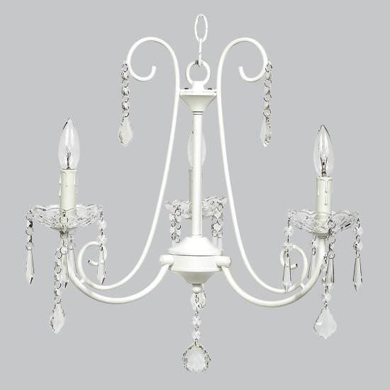 bliss white three light mini chandelier