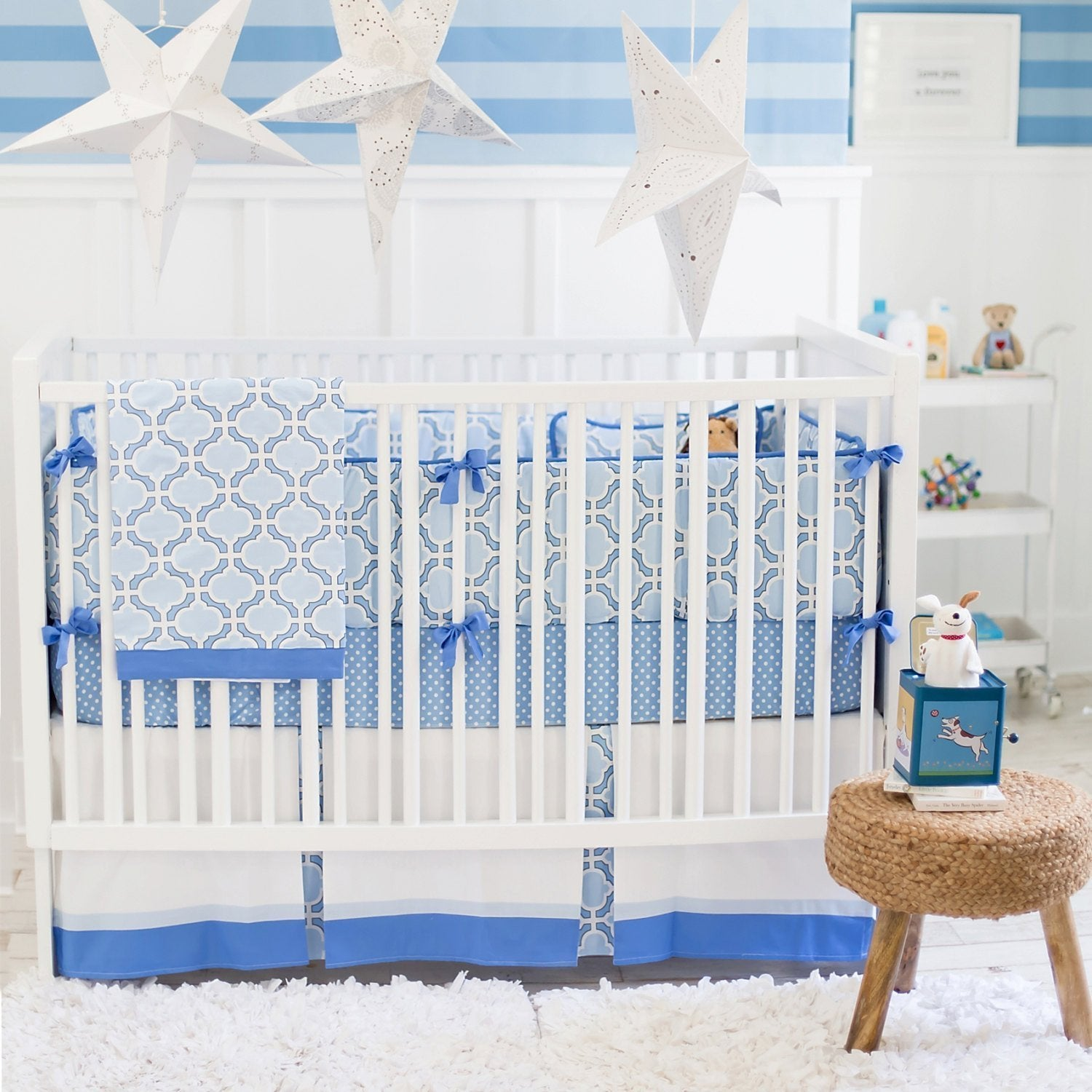 Blue and White Carousel Baby Bedding Set-Crib Bedding Set-New Arrivals-Jack and Jill Boutique