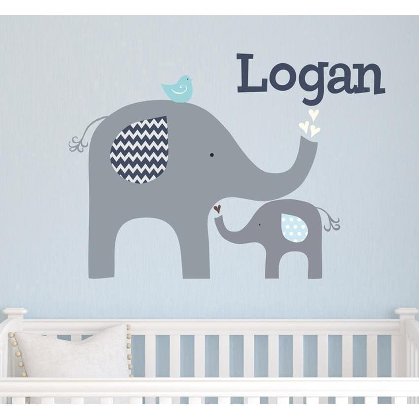 Blue Elephant Love Fabric Decal-Decals-One Size-Jack and Jill Boutique