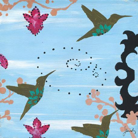 Blue Hawaii Olive Hummingbird | Canvas Wall Art-Canvas Wall Art-Jack and Jill Boutique