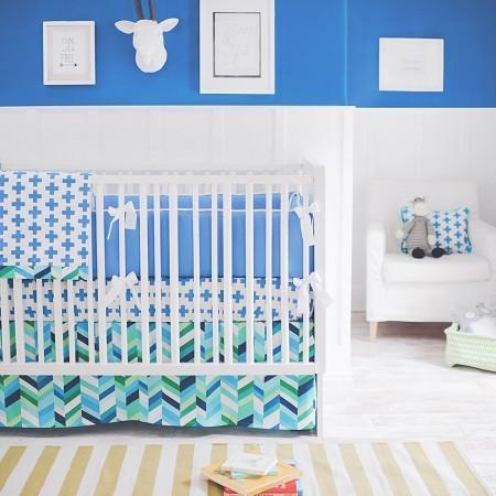 Blue Modern Uptown in Blue Baby Bedding Set-Crib Bedding Set-Jack and Jill Boutique