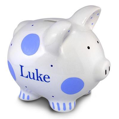 Blue Polkadot Piggy Bank (Boy) | Personalized-Piggy Bank-Jack and Jill Boutique