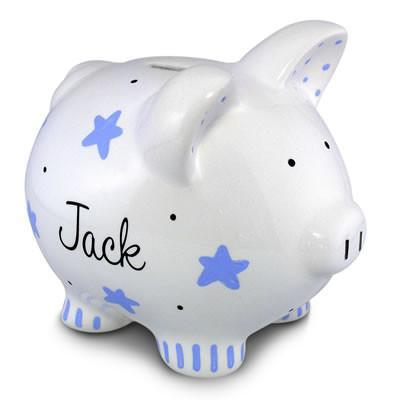 Blue Star Piggy Bank (Boy) | Personalized-Piggy Bank-Jack and Jill Boutique