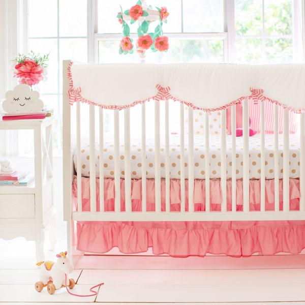 Coral and Gold Crib Bedding | 8 Piece Boho Baby Collection-Crib Bedding Set-Jack and Jill Boutique