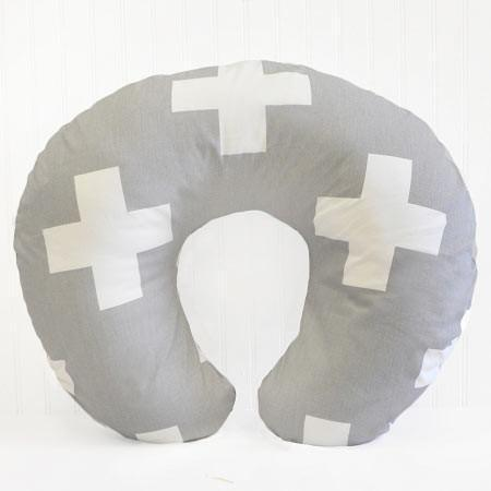 Boppy Covers | Gray Swiss Cross-Boppy Cover-Default-Jack and Jill Boutique