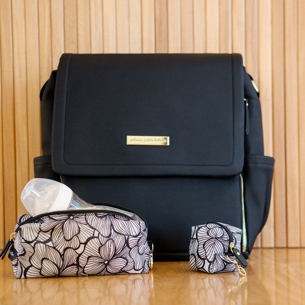 Boxy Backpack In Black Matte Leatherette Petunia Pickle Bottom Jack And Jill Boutique