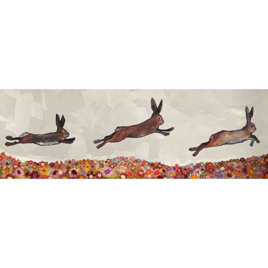 Brown Bunnies Jumping Over Flowers | Canvas Wall Art-Canvas Wall Art-Jack and Jill Boutique