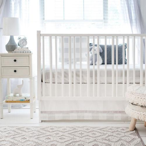 Gray Buffalo Plaid Crib Bedding Set-Crib Bedding Set-Jack and Jill Boutique