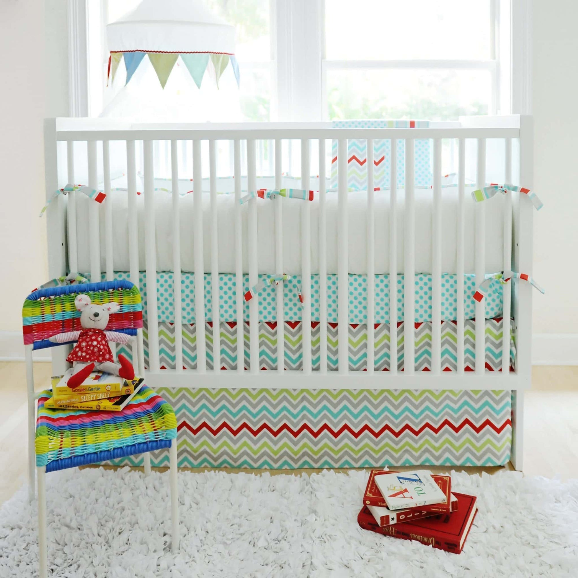 Bumper | Aqua Chevron Jellybean Parade-Bumper-Default-Jack and Jill Boutique