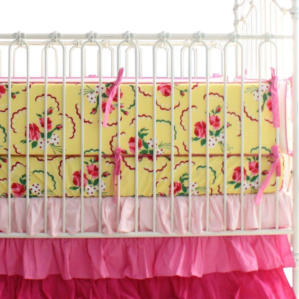 Bumper: Emma's Yellow and Pink Floral | Bold Bedding-Bumper-Default-Jack and Jill Boutique