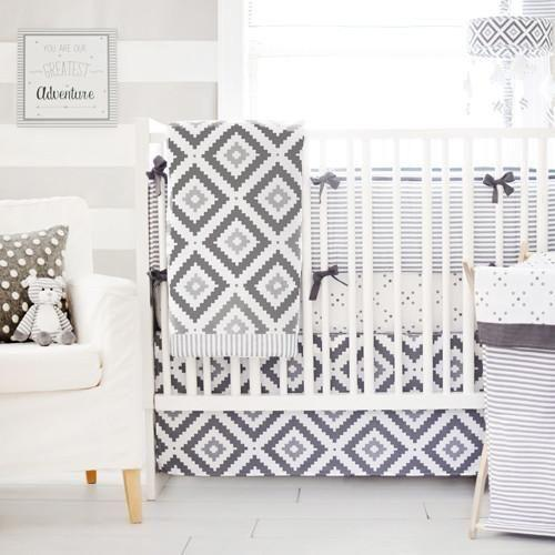 Bumper | Gray Arrow Little Adventurer Crib Baby Bedding Set-Bumper-Jack and Jill Boutique