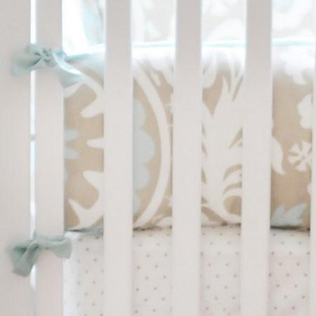 Bumper | Khaki & Aqua Suzani Picket Fence-Bumper-Default-Jack and Jill Boutique