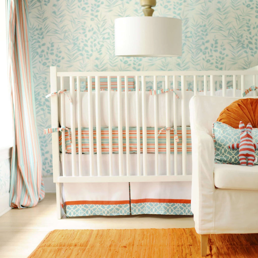Bumper | Scout Mango and White Crib Baby Bedding Set-Bumper-Default-Jack and Jill Boutique