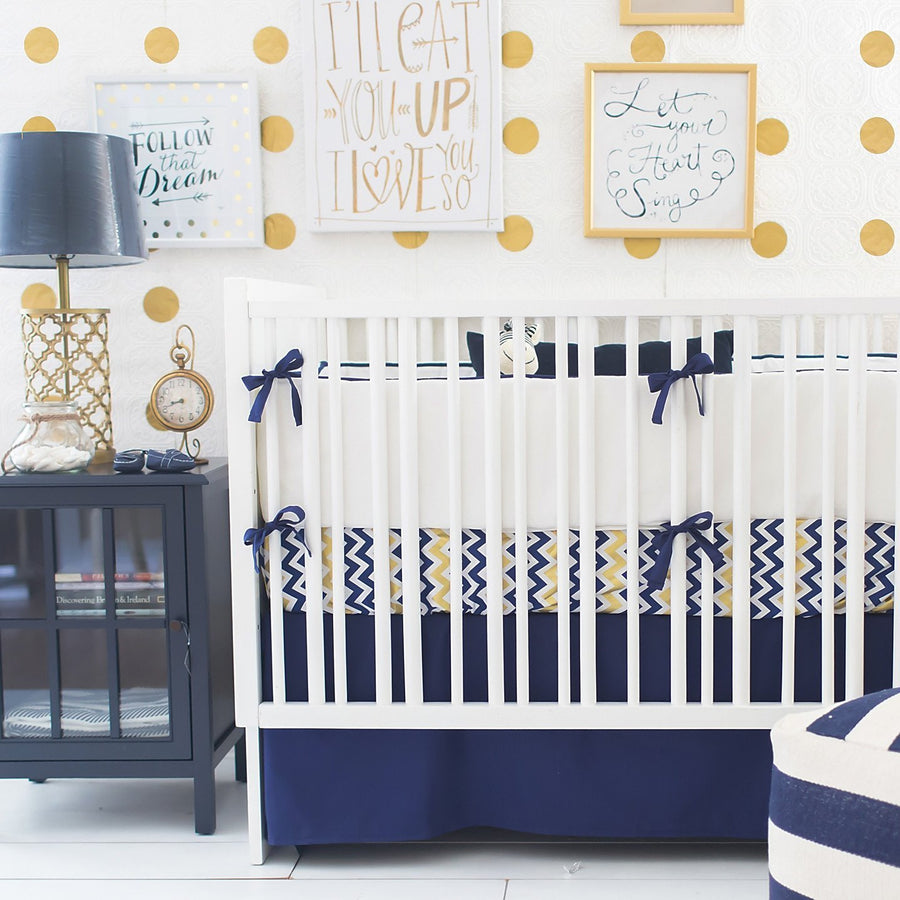 Bumper | Sweet & Simple Seperates - Golden Days in Navy Crib Baby Bedding Set