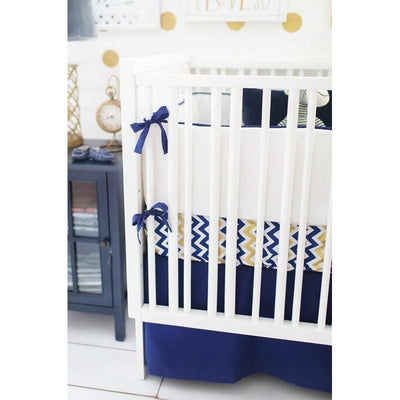 Bumper | Sweet & Simple Seperates - Golden Days in Navy Crib Baby Bedding Set-Bumper-Default-Jack and Jill Boutique