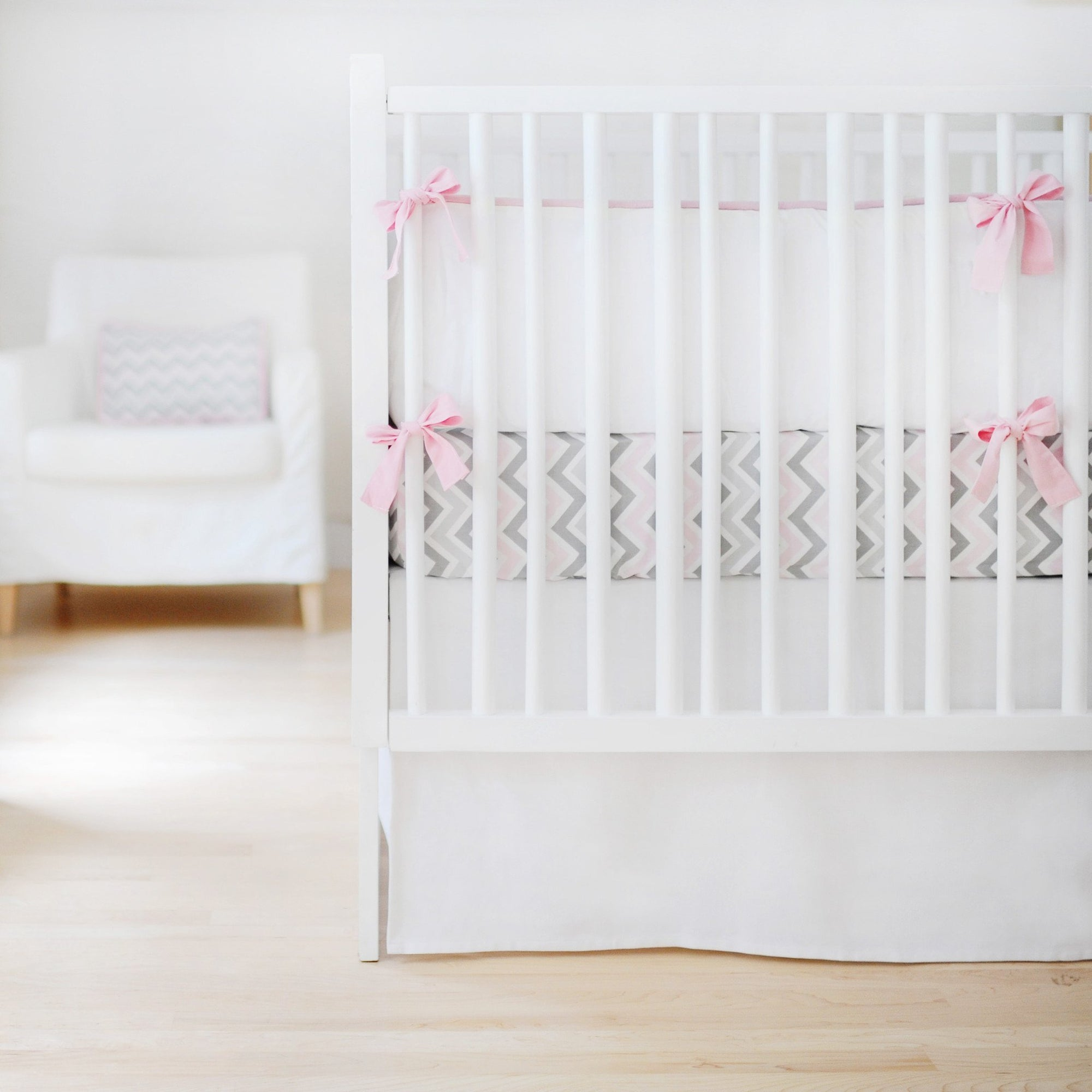 Bumper | Sweet & Simple Seperates - White Crib Baby Bedding Set-Bumper-Default-Jack and Jill Boutique